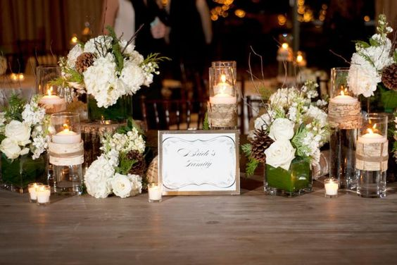 clusters of vases with light winter theme