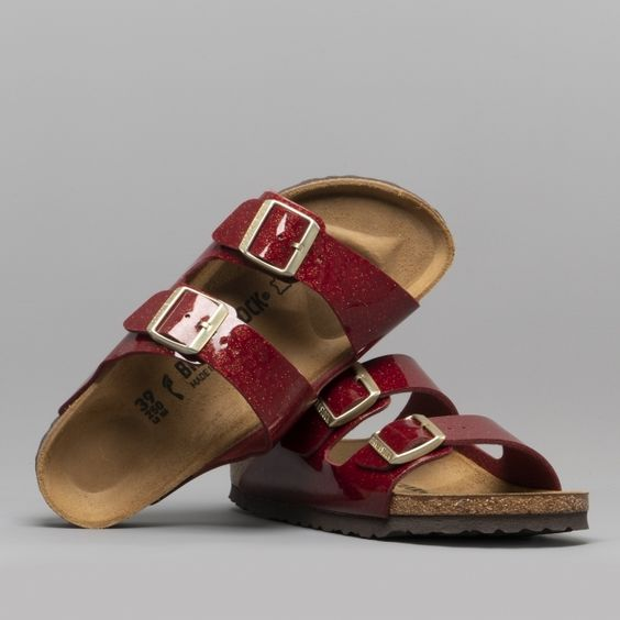 ARIZONA 1013634 (Nar) Ladies Birko-Flor Two Strap Sandals Magic Snake Bordeaux