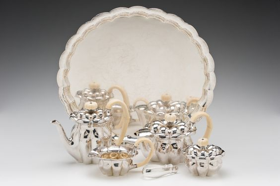 "Josef Hoffman (Austrian,1870-1956)/ Wiener Werkstätte (Austria) ""Tea and Coffee Service""  c. 1918-1923 silver, ivory  (tray:) 1 x 20 x 18.5"" Photo: David H. Ramsey. 2003.46.3"