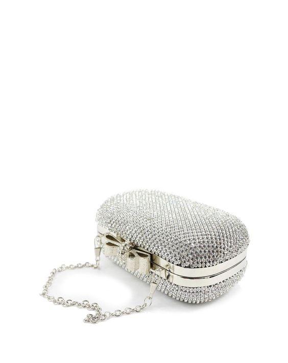 Silver Elegant Rhinestone Bow Clutch, Silver, CAIYUE | VIPme: