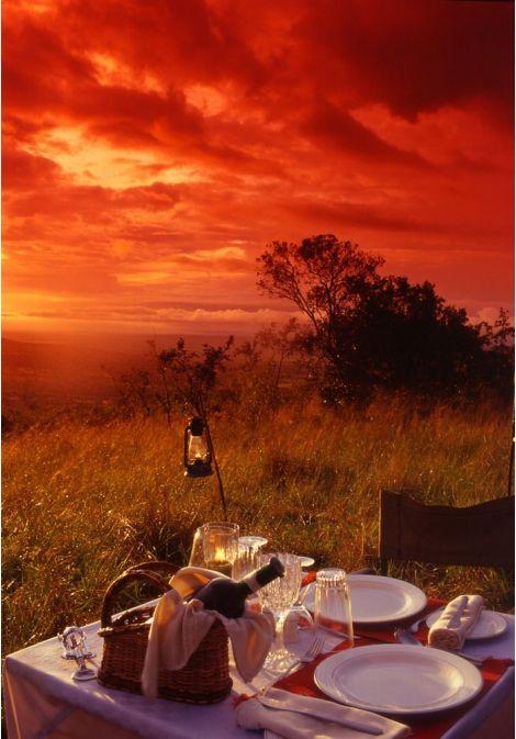 Sunset outdoor dinner at Maasai Mara national park, Kenya