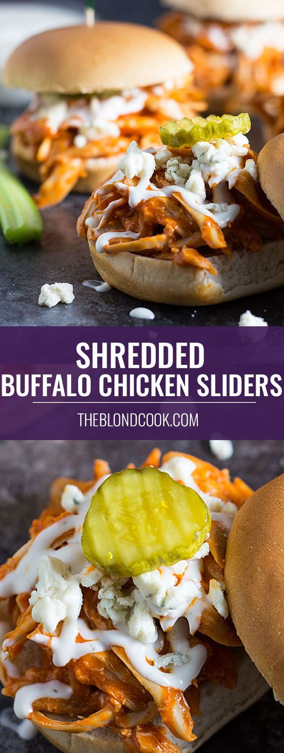 Shredded Buffalo Chicken Sliders -- using a store bought rotisserie chicken slashes time when making these sliders. They're a perfect game day appetizer!