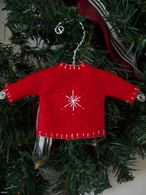 Mini Red Sweater Ornament. Repinned by www.mygrowingtraditions.com
