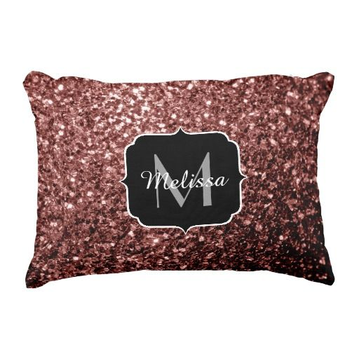 Beautiful Glam Marsala Brown-Red Glitter sparkles Monogram Accent Pillow Cushion by #PLdesign #Marsala #MarsalaSparkles #SparklesGift