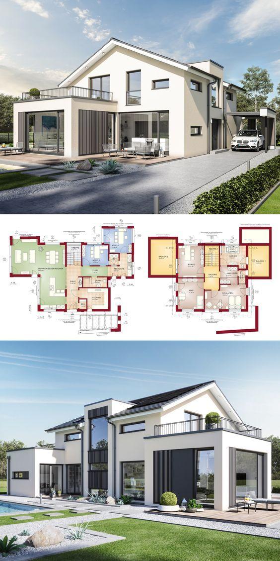 Einfamilienhaus Architektur Modern Mit Satteldach Buro Anbau Galerie Fertighaus Bauen Grundriss Desig Haus Architektur Architektur Moderne Hausarchitektur