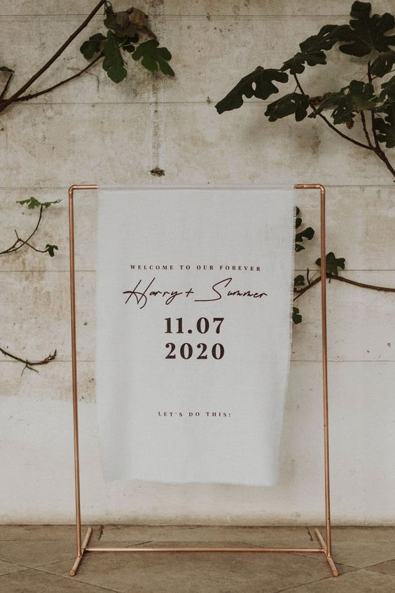 Hanging Stand Wedding Linen Signs