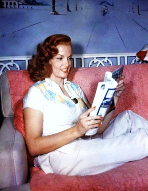 Jane Russell reading at home