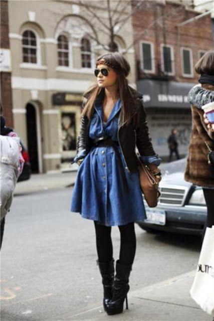 Miroslava Duma. Shirt dress + tights + mid-height boots + leather jacket.