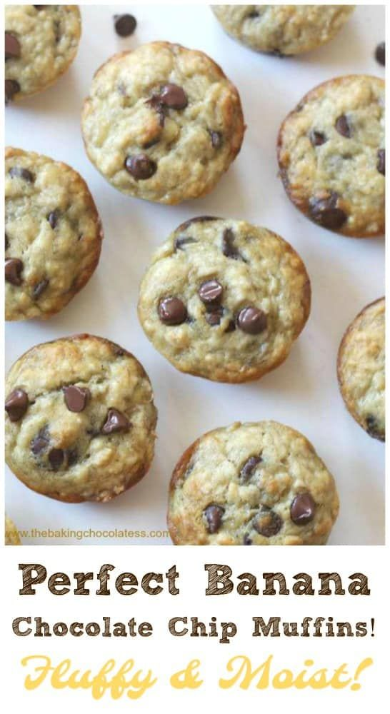 Perfect Banana Chocolate Chip Muffins! Fluffy & Moist