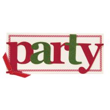 Red & Green Party Diecut Word Invitation