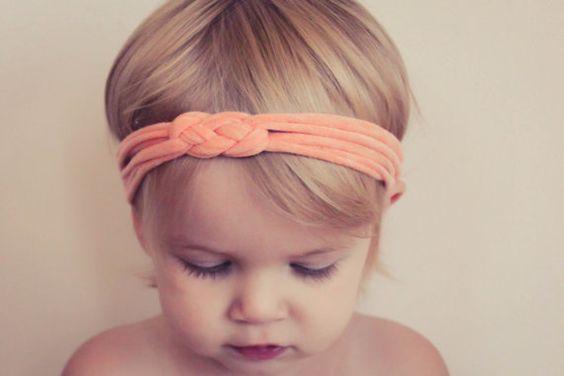 Workout Headband - Pale Orange Exercise Headband, Knotted Jersey Headband, Gym Headband, Soft Jersey Baby Toddler Headband