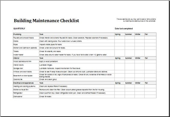 Building maintenance checklist DOWNLOAD at    wwwxltemplates - maintenance checklist template