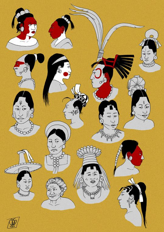 Aztec Haircut : aztec, haircut, Women, Hairstyles, Headwear, Classic, Period, (c.600-900)., Based, Primary, Sources:, Paintings,, Murals,, Mayan, Ancient, Aztecs,, Culture