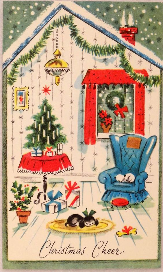 50s Cozy Festive House Interior-Dog-Cat- Vintage Christmas Card-Greeting::
