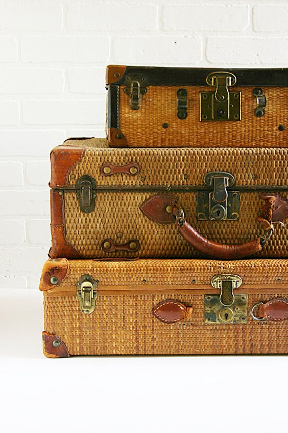vintage straw suitcases: