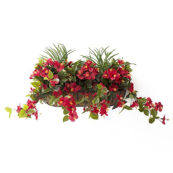 Balconnière Hibiscus Rouges avec verdure 28