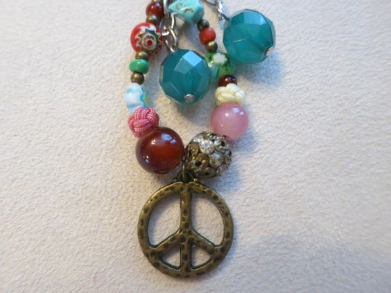 Peace Key Chain/Pocketbook Bling with Multi colored beads - pinned by pin4etsy.com