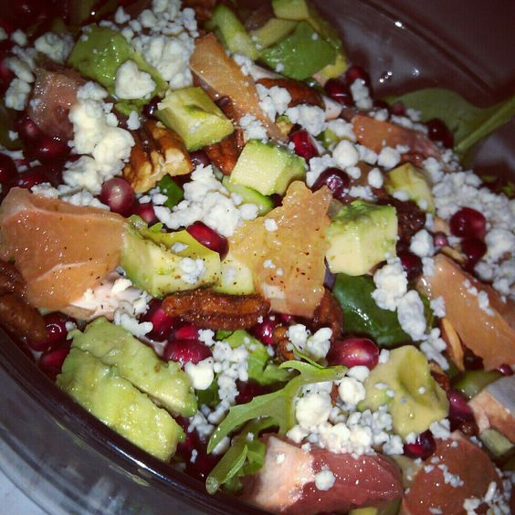 ... pomegranate seeds, ruby red grapefruit, crumbled gorgonzola cheese