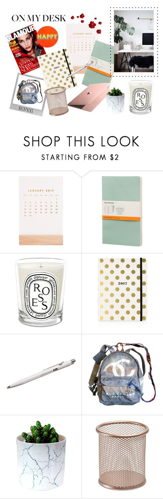 What's on my desk this year ? by anais-wardrobe on Polyvore featuring interior, interiors, interior design, maison, home decor, interior decorating, Lisa Perry, Kate Spade, Thrive and Moleskine