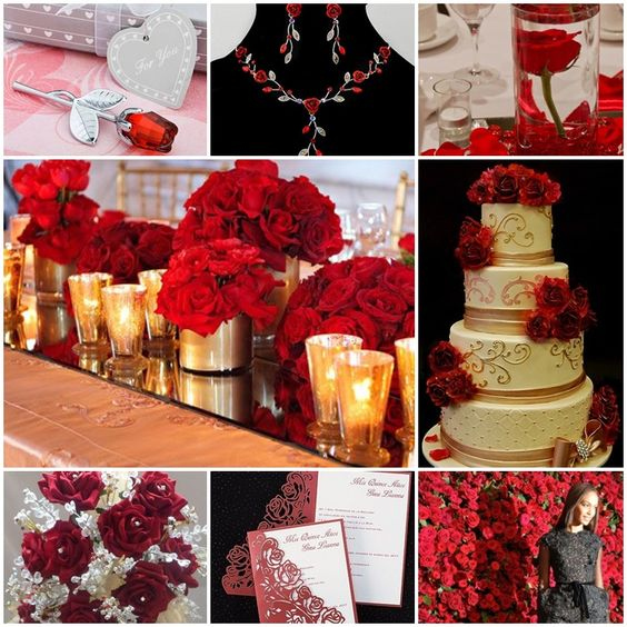 Red roses quinceanera sweet fifteen theme
