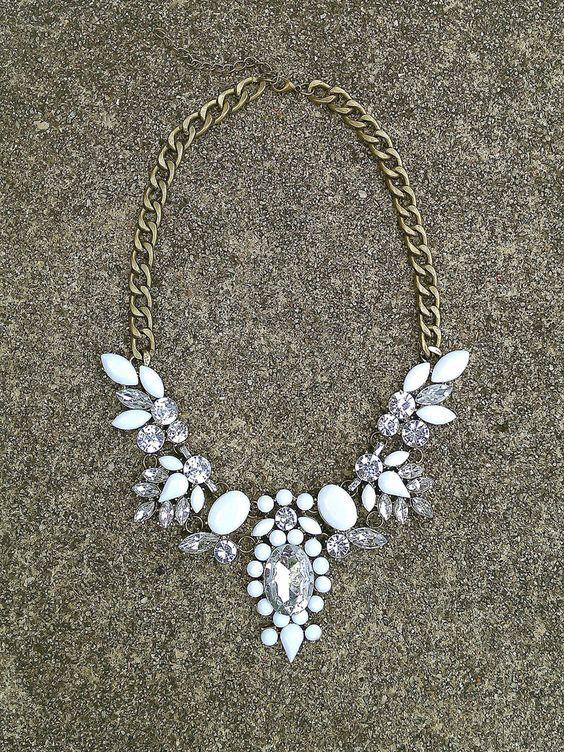 White statement necklace, white bib necklace