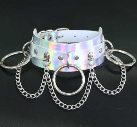 Deluxe Silver Holographic Faux Leather Choker