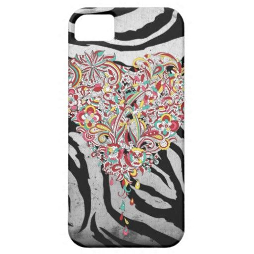 Grunge Fancy Heart Iphone 5 Case. A pretty cool #zebra print background holds this multicolored heart that is made of of a bunch of flourish elements and whimsical art pieces.