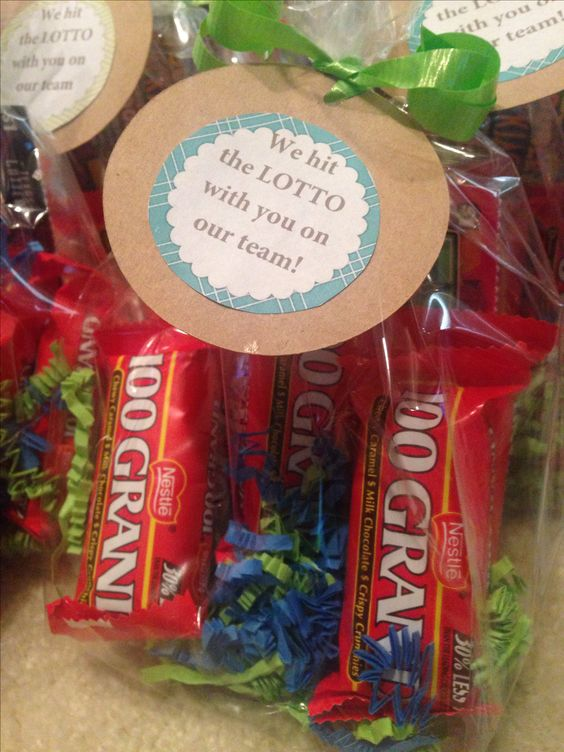 Employee Appreciation- lotto ticket and 100 grand candy bars