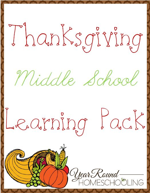 Free Thanksgiving Middle School Learning Pack