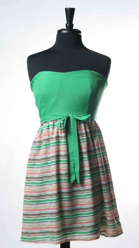 <3  Strapless Stripe OpenBack Dress
