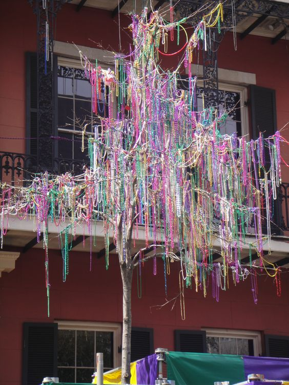 Mardi Gras Tree, considered exterior decor. Love to drive down Johnson street & see the beads in the trees!:
