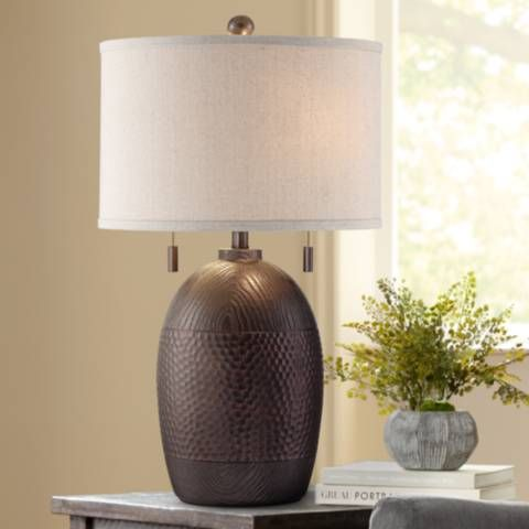 Rustic Table Lamps, Twin Pull Chain Table Lamp
