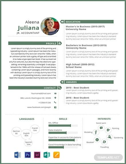 Junior Accountant Resume Cv Template Word Psd Indesign Apple Pages Publisher Accountant Resume Resume Template Resume Template Word