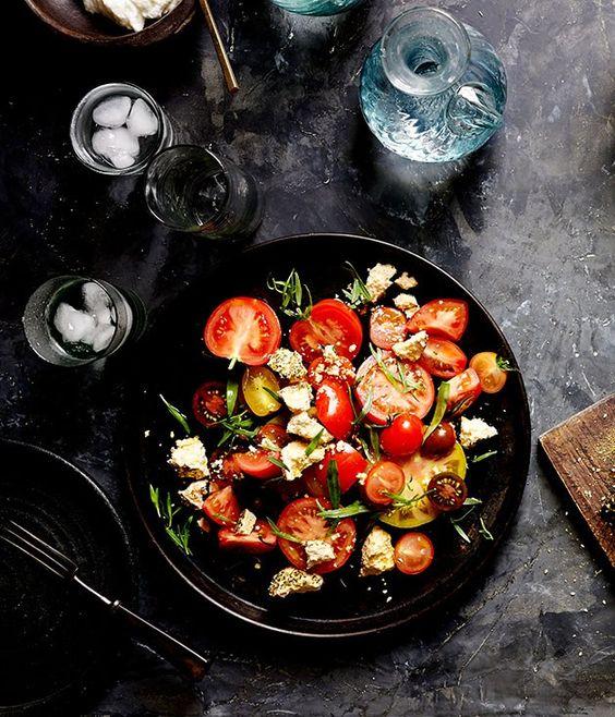 Tomato, shanklish and tarragon recipe | Tomato salad recipe | Rumi, Melbourne - Gourmet Traveller