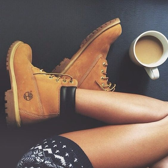 http://www.popularclothingstyles.com/category/timberland/ Cozy up with some coffee #timberland #yellowboot #coffeenclothes