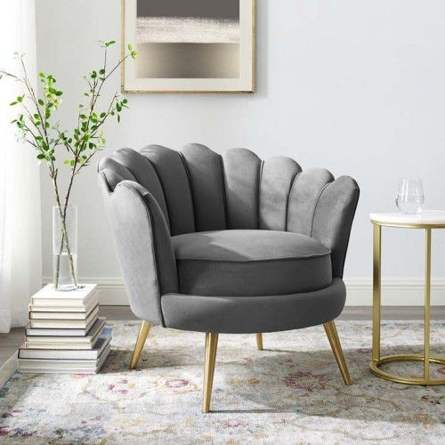 Grey Velvet Round Back Petals Gold Legs Armchair In 2020 Living