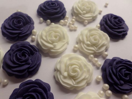 ROSES & PEARLS navy & white edible rose cake cupcake toppers decorations wedding