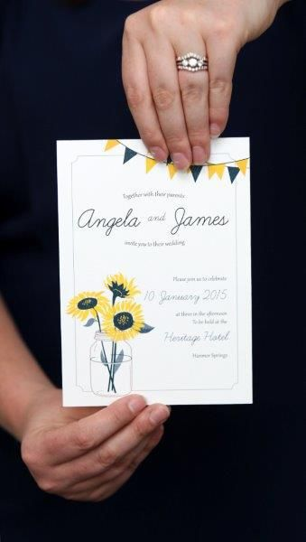 Wedding themes for a rustic country wedding - http://www.southernbride.co.nz/wedding-themes-for-a-rustic-country-style-wedding/ - Sunflower wedding invitation