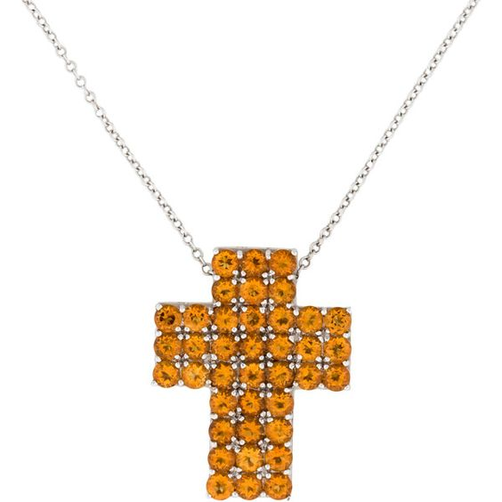 Pre-owned Pasquale Bruni Citrine Cross Necklace ($1,275) ❤ liked on Polyvore featuring jewelry, necklaces, 18 karat gold necklace, cross necklace, citrine jewelry, crucifix jewelry and orange necklace