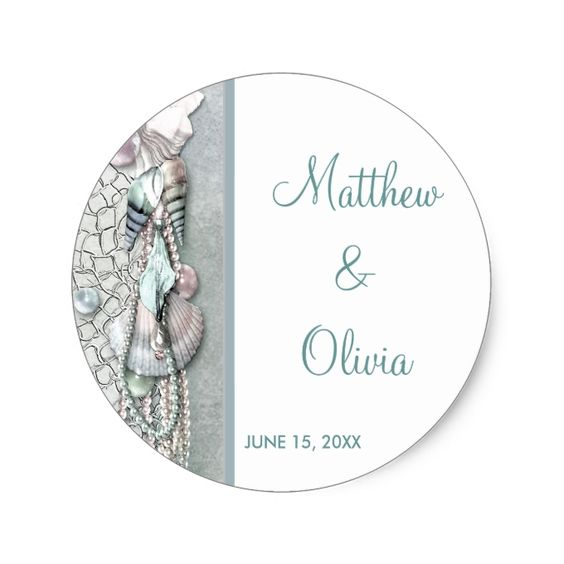 Teal Seashells Pearl Beach Wedding Favor Stickers