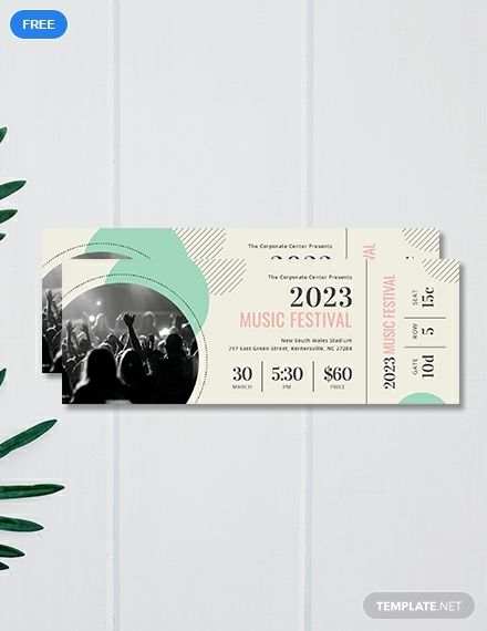 Printable Concert Ticket Template Free Pdf Word Psd Apple Pages Illustrator Publisher Ticket Template Free Concert Ticket Template Ticket Template