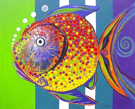 J vincent scarpace artist original abstract fish art for Original abstract paintings for sale