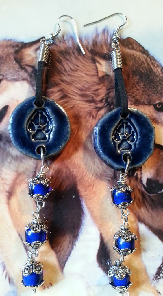 Unique Ceramic Wolf Paw Print Dangle by WolfMountainJewelry, $20.00