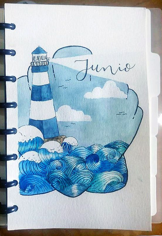 June Bullet Journal Ocean Theme Lighthouse And Waves With