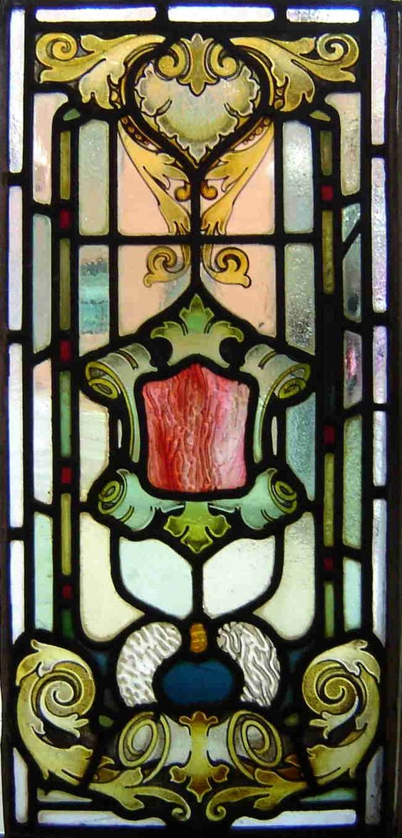Victorian hand painted fired antique stained glass windo for Window scroll function