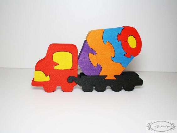 Puzzle en bois, camion bétonnière, véhicule de chantier, transport, jouet enfant