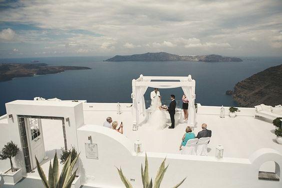 Santorini elopement with pink peonies