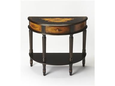Shop for Butler Specialty Company Demilune Console Table, 0667059, and other Living Room Tables at Priba Furniture And Interiors in Greensboro, NC. Unique Hand Painted Design On Hardwood Frame. Drawer With Wood Knob.