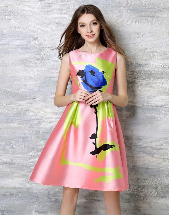 2016 Summer Celebrity Inspired Women Elegant Vintage Retro Flower Floral Print Vest Dresses Sleeveless O-Neck Vestidos de Fiesta