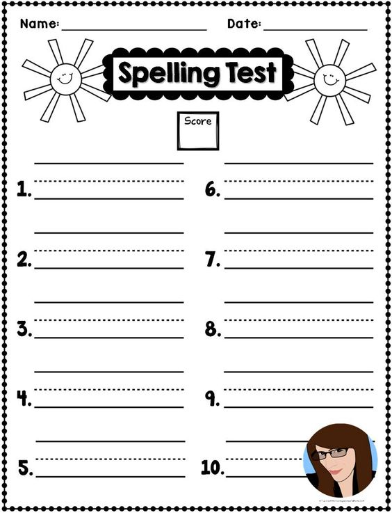 free spelling test templates for reading street - possibly other - spelling test template